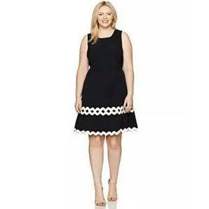 Julia Jordan Dress Sheath Ivory Trim Black 18W NWT